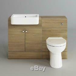 Unité De Lavabo De Lavabo En Chêne De Luxe + Ensemble De Meubles De Rangement De Toilettes Au Dos