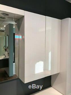 Unités Miroir Vanité Meuble Lavabo Bassin Blanc Brillant Grand Stockage Bathstore Myplan