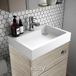 Vasari Vista Driftwood Back To Wall Btw Unit Toilet 500mm Cistern Basin Sink