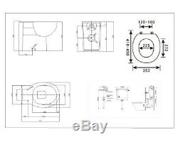 Veebath Cyrenne Basin Vanity Cabinet Dos Au Mur Gris Toilettes Salle De Bains 1300mm