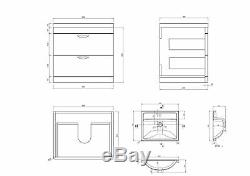 Veebath Cyrenne Mur Hung Vanity Cabinet Dos Au Mur Toilettes Meubles 1200mm