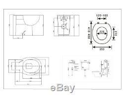 Veebath Cyrenne Mur Hung Vanity Cabinet Dos Au Mur Toilettes Meubles 1300mm