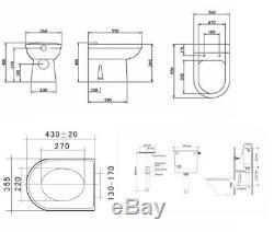 Veebath Linx Basin Vanity Unit Miroir Cabinet Dos Au Mur Toilettes Meubles Set