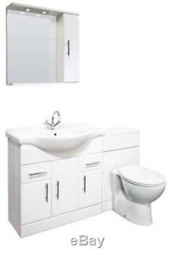 Veebath Linx Cabinet Vanity Basin Retour Au Mur Toilettes Unité Pan Cistern 1350mm