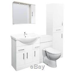 Veebath Linx Cabinet Vanity Basin Retour Au Mur Toilettes Unité Pan Cistern 1800mm