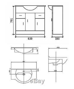 Veebath Linx Cabinet Vanity Basin Retour Au Mur Toilettes Unité Pan Cistern 1900mm