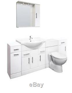 Veebath Linx Cabinet Vanity Basin Retour Au Mur Toilettes Unité Pan Cistern 1950mm