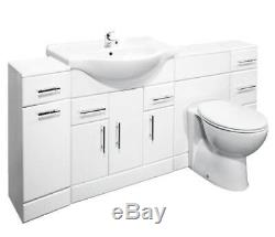 Veebath Linx Cabinet Vanity Basin Retour Au Mur Toilettes Unité Pan Cistern 2000mm
