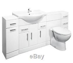 Veebath Linx Cabinet Vanity Basin Retour Au Mur Toilettes Unité Pan Cistern 2100mm