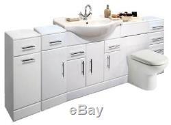 Veebath Linx Cabinet Vanity Basin Retour Au Mur Toilettes Unité Pan Cistern 2200mm