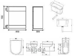 Veebath Linx Vanity Basin Cabinet Retour À L'unité De Toilette Murale Pan Cistern 1450mm