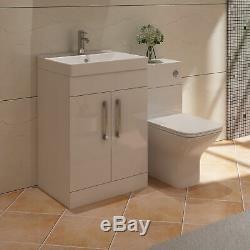 Veebath Lumin Blanc Vanity Éviers Dos Au Mur Toilettes Meubles Set 1100mm