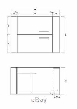 Veebath Lumin Gris Avola Evier Vanity Dos Au Mur Toilettes Meubles 1100mm