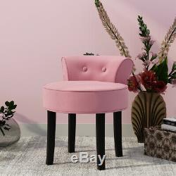 Velvet Coiffeuse Tabouret Vanity Chair Maquillage Tabouret Chambre Bois Noir Gris