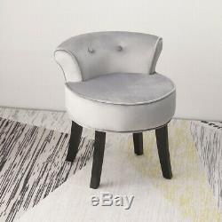Velvet De Luxe Coiffeuse Tabouret Jambes Noir Vanity Rembourré Chair Chambre