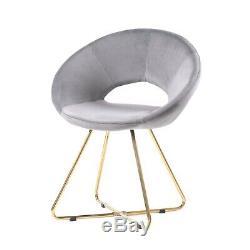 Velvet Occasionnels Tub Chair Fauteuil Vanity Chaises Gris À Dos Creux Salle À Manger