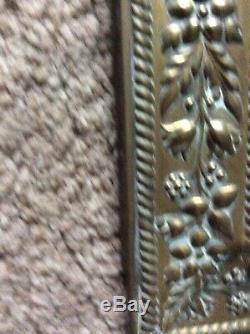 Vintage Brass Salle / Éponte Vanity Bord Biseauté Miroir, Bois Back24x10 1/2
