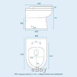 Welbourne Lh Bain Bassin Évier Plan Vasque En Pierre Grise Unité Retour Au Wc Mur Toilettes