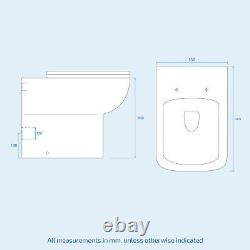 White Basin Sink Vanity Cabinet & Back To Wall Toilet Wc Unit Suite Nanuya