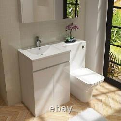 White Vanity Unit Avec Retour Au Mur Toilette Main Gauche Florence